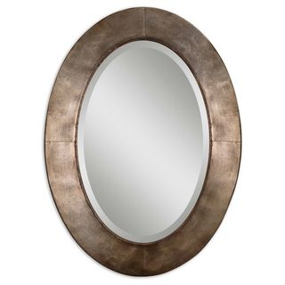 Kayenta Antiqued Silver Champagne Leaf Framed Mirror