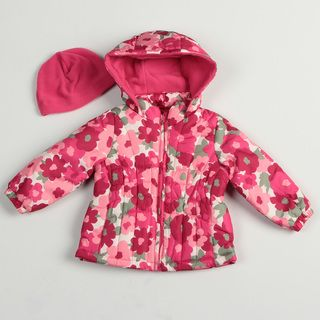 Osh Kosh Toddler Girls Pink Floral Bubble Jacket