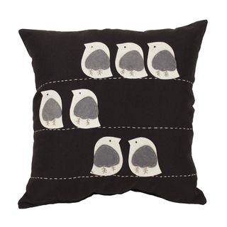 Felt Birds Black 18 inch Throw Pillow