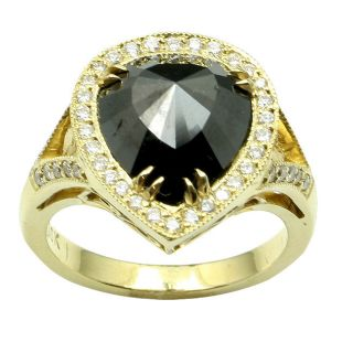 18k Yellow Gold 4 1/10ct TDW Black and White Diamond Ring (F, VS2