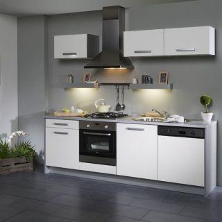 BOX Cuisine L 245 cm Blanche façade lave vaisselle   Achat / Vente