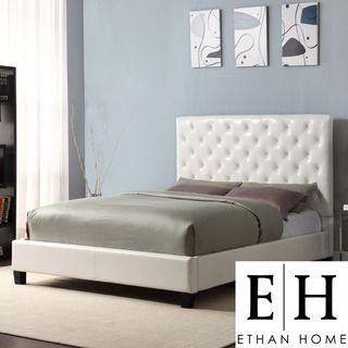 ETHAN HOME Sophie White Vinyl Tufted Full size Platform Bed