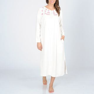 La Cera Womens Ivory Zip front Floral Embroidered Robe