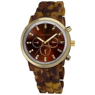 Vernier Womens Boyfriend Soft touch Tortoise Faux Chrono Watch