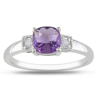 Miadora Sterling Silver Amethyst and Diamond Accent Ring