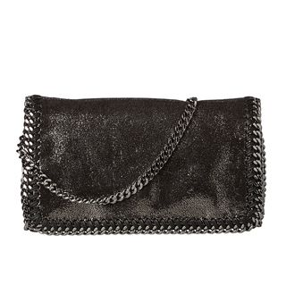Stella McCartney Metallic Black Whipstitched Mini Crossbody Bag