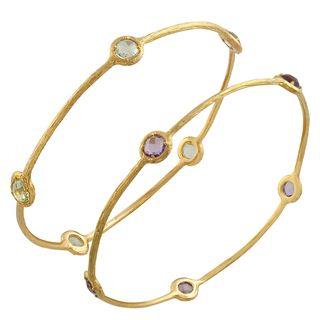 Fremada 14k Yellow Gold Pink, Green Amethyst Bangle Bracelet