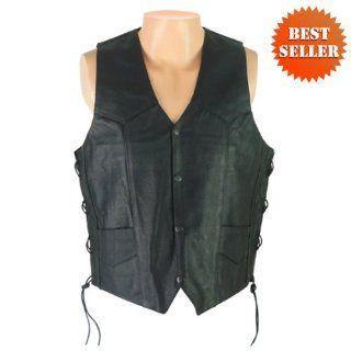 Leather Vests   Mens Leather Motorcycle Vest MV103