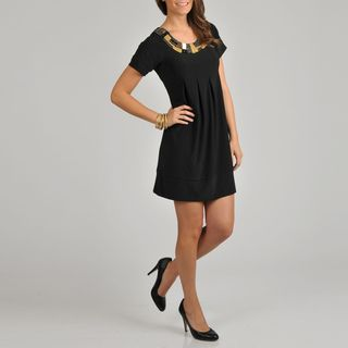 Tiana B. Womens Black Embellished Pleat Front Dress