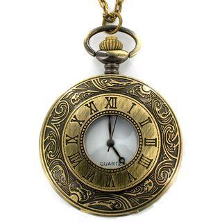 Antiqued Bronze Colored Roman Numeral Clock Necklace