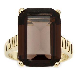Angelina DAndrea 14k Gold plated Smoky Quartz Ring