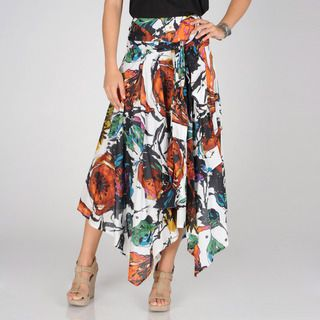 Grace Elements Womens Freedom Floral Uneven Hem Ruffled Skirt
