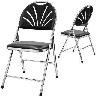 Phoenixx Fan Back Folding Chair with Padding Color Black