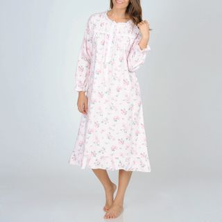 La Cera Womens Pink Floral Print Flannel Nightgown