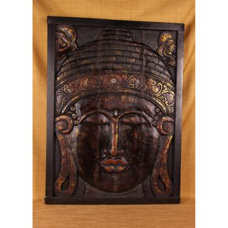 Mirrored Hand Carved Antique Finish Buddha Panel (India)