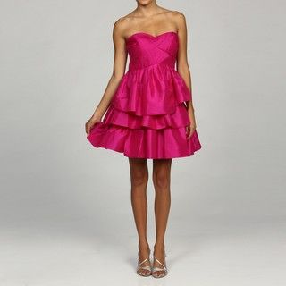 Jessica Simpson Womens Pink Strapless Tiered Dress
