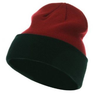 Two Tone 12 Inch Long Beanie   Red Black W28S19C Clothing