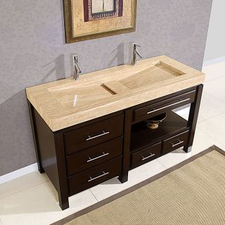 Silkroad Exclusive 60 inch Travertine Stone Vanity