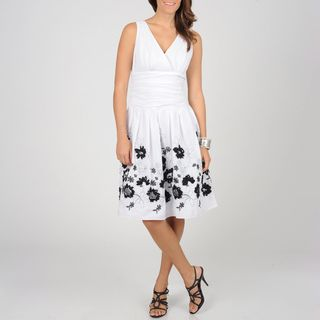 Fashions Womens White/ Black Floral Cotton Sundress