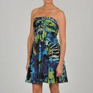 Oleg Cassini Womens Strapless Floral Printed Dress
