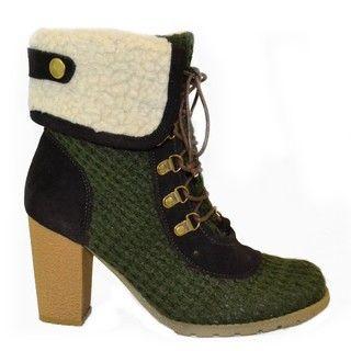 Muk Luks Womens Loden Crochet Knit Lace up Boots