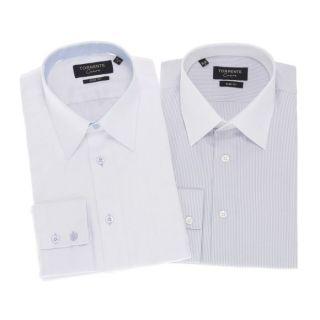 TORRENTE COUTURE Lot de 2 Chemises Homme Blanc et gris   Achat / Vente