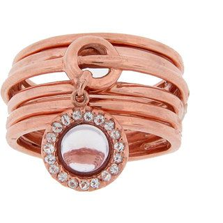 Meredith Leigh Sterling Silver Pink Amethyst and Topaz Ring