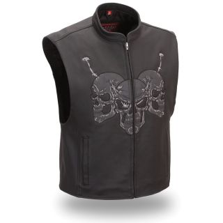 First Racing Mens Raceway Black Motorcycle Skull Vest