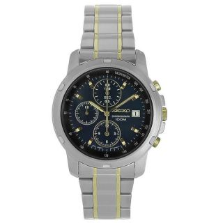 Seiko Mens Stainless Steel Blue Dial Chronograph Watch