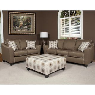 Havana Sofa and Loveseat Pecan with Four Alloy Welt Throw Pillows