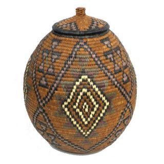 Ukhamba Triangle and Diamond Pattern Beer Basket (South Africa