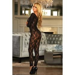 Hustler Long Sleeve Crotchless Footless Black Lace Bodystocking