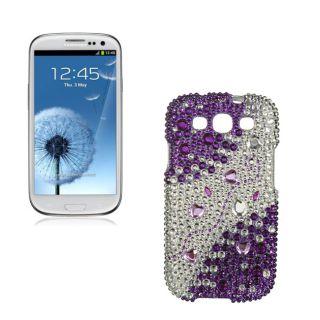 Premium Samsung Galaxy S III/S3 Purple Silver Rhinestone Case