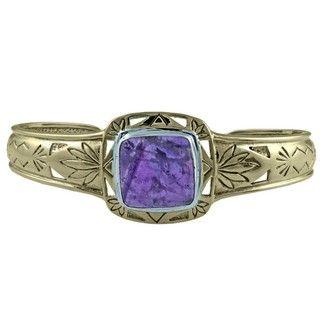 Southwest Moon Sterling Silver Trim Cape Amethyst Bronze Cuff Bracelet