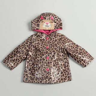 Carters Girls Leopard Printed Cat face Hood Rain Coat