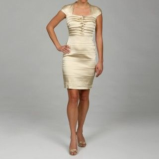 Jax Womens Bone Tiered Knot Detail Dress