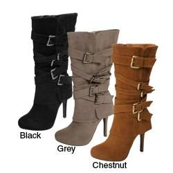 Bamboo by Journee Womens Faux Suede Buckled Boots