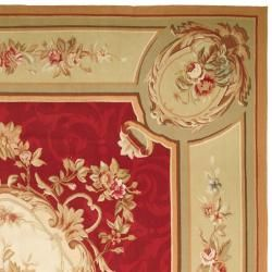 Hand knotted French Aubusson Weave Red Taupe Wool Rug (10 x 14