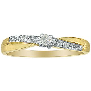 10k Yellow Gold Diamond Promise Ring (K, I2)
