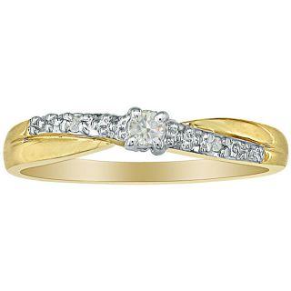 10k Yellow Gold Diamond Promise Ring (K, I2)