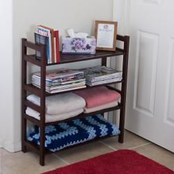 Four Tier Solid Mahogany Wood Media Shoe Rack Bookshelf
