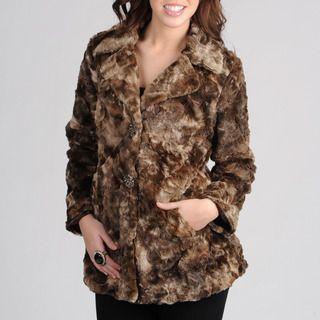 Mo Ka Womens Brown Faux Fur Jacket