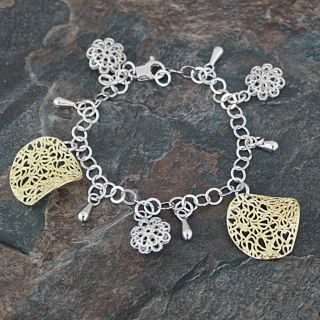 Sterling Silver and Goldplated Charm Bracelet (Italy)