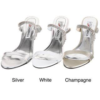 Lasonia Womens Champagne Rhinestone Heels