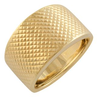 Fremada 10 Karat Yellow Gold Diamond Cut Bold Ring (size 7