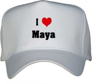 I Love/Heart Maya White Hat / Baseball Cap Clothing