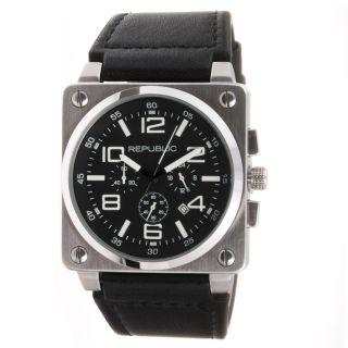 Republic Mens Black Leather Strap Chrono Aviation Watch