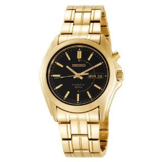 Seiko Mens SMY116 Gold Tone Stainless Steel Kinetic Black Dial Watch