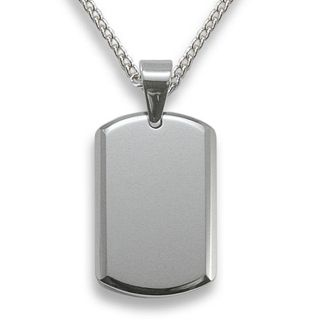 Mens Tungsten Carbide Beveled Edge Small Dog Tag Necklace