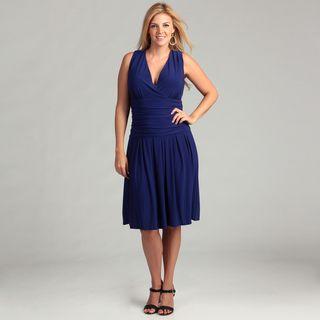 Jessica Howard Womens Blue Ruched Waist Plus Dress